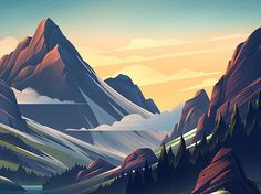 "4,038 Likes, 24 Comments - Graphics Mob (@gfx.mob) on Instagram: ""Landscape illustration by @bemocs 