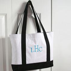 White and Black Canvas Tote Bag  Personalized with monogram! http://bustlingbride.carlsoncraft.com/Wedding/Wedding-Party-Gifts/ZB-ZBKX20644P-White-and-Black-Canvas-Tote-Bag--Personalized.pro personalized gift ideas!