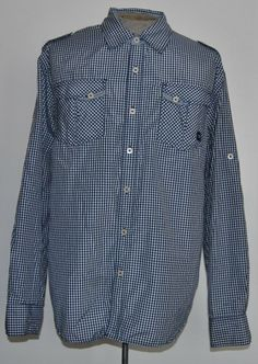 Akademiks 2XL Shirt Blue Plaid Cotton Blend Long Sleeve Point (Straight) #Akademiks free shipping Buy Now  $14.99