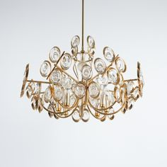 Palwa Gilt Brass and Glass Chandelier Lamp, 1970
