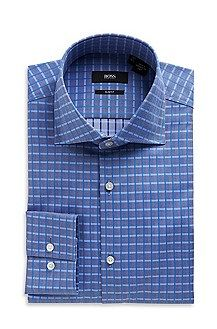 'Jaron'   Slim Fit, Spread Collar Cotton Check Dress Shirt