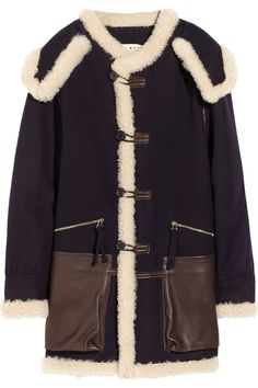 Marni navy wool, cream shearling and chocolate leather-trimmed coat will definitely keep away the chill during our frosty Vermont winters. Shearling Coat, Fur Coat, Hooded Wool Coat, Marni Shoes, Navy Coat, Blue Coats, Black Wool, My Style, Leather