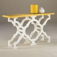 Yellow/White Art Deco Console Table