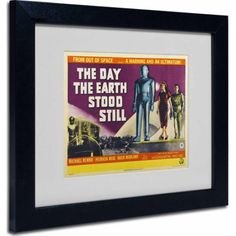 Trademark Fine Art Day Earth Stood Still Matted Framed Art by Vintage Apple Collection, Black Frame, Size: 11 x 14, Multicolor