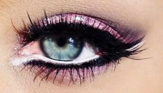 I love the white eyeliner on this. I look weird with purple make-up on, but I wonder if it would look better with a little white eyeliner. Eye Makeup, Makeup Tips, Hair Makeup, Pink Makeup, Barbie Makeup, White Makeup, Makeup Ideas, Eyelashes Makeup, Fake Eyelashes