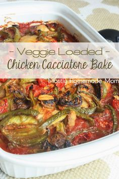 Veggie Loaded Chicken Cacciatore Bake - Seared chicken topped with crushed tomatoes, sauce, green peppers, mushrooms, and garlic for this incredible weeknight casserole bake!