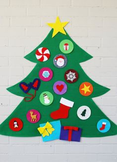 Learn more about the Rainbow Christmas Tree Felt Christmas Tree - FEATURED on the TODAY SHOW -decorate your own felt tree - with Personalized Ornament Option by luluandjayne on Etsy Christmas Tree Kit, Rainbow Christmas Tree, Christmas Tree Template, Christmas Tree Pictures, Handmade Christmas Tree, Christmas Tree Pattern, Snoopy Christmas, Diy Christmas Ornaments, Felt Christmas