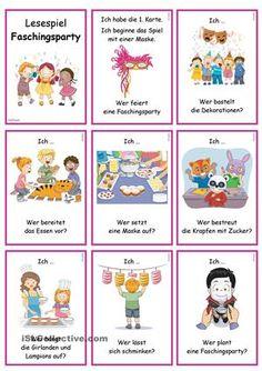 Lesespiel für die Gruppe/ Klassezum Thema Fasching/ Karneval- Sprechübung- Phrasen: Ich ... Wer ...?- Einüben von Phrasen & Sätzen: vorsprechen- nachsprechen- Festigen & Üben des Wortschatzes in Kombination einfacher Verben- Präsens- Verbkonjugation (1P. & 3P./ Sg)- Version OHNE Vorgabe der VerbkonjugationInfo: mit Austauschkarten bzgl. WortschatzBildwörterbuch 1 + AB + Wortschatzliste zur Erarbeitung:https://de.islcollective.com/resources/print...