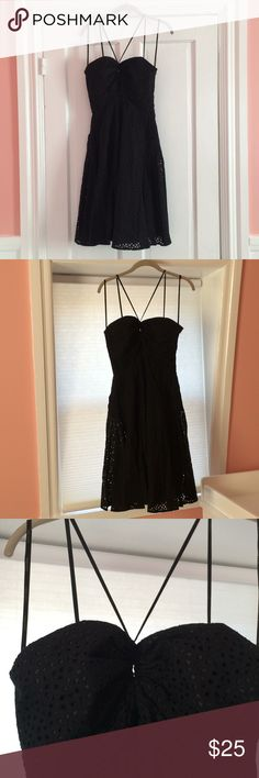 Adorable Calvin Klein Black Dress with Pockets Size 6 Calvin Klein Black Dress. Sweetheart top with keyhole cutout and adjustable straps.  Solid black covered by a layer with eyelet cutouts.  Pockets too! Calvin Klein Dresses