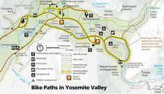 Map showing Yosemite Valley bike paths