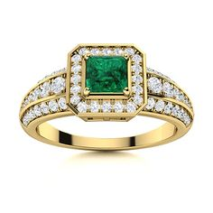 Inspired by the royals, this Emerald ring in 14k Yellow Gold defines pride, passion and eternal love. Glamorously yours to wear! Buying An Engagement Ring, Engagement Rings, Natural Emerald Rings, Blue Sapphire Rings, Love Ring, Halo Diamond, White Gold Rings, Vintage Rings, Ring Designs