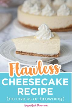 How to make a classic cheesecake recipe with a perfectly creamy center, zero cracks, and the perfect crunchy graham cracker crust! Perfect Cheesecake Recipe, Homemade Cheesecake, Classic Cheesecake, Cheesecake Recipes, Cake Recipes From Scratch, Best Cake Recipes, Sweet Recipes, Fun Desserts, Dessert Recipes