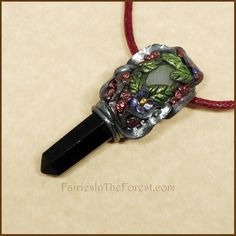 Silver Polymer Clay, Blackstone Crystal Point and Quartz Pendant Necklace – Fairies in the Forest