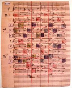 Page from a sketchbook of Arnold Schoenberg. (Appears to be a color-coded listing of row forms.)