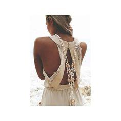 Sabo Skirt Eva Jumpsuit (415 NOK) ❤ liked on Polyvore featuring jumpsuits, beige, playsuit romper, lace jumpsuit, jumpsuits & rompers, open back romper and beige jumpsuit