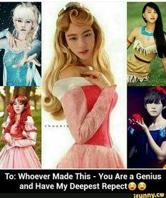 BTS as Disney Princesses (Jin as the pink princess is just ♡o♡) Bts Suga, Bts E Got7, Bts Bangtan Boy, Memes Bts Español, Bts Meme Faces, Bts Memes Hilarious, Memes Humor, Bts Girl, Bts Boys