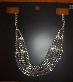 STUNNING EMPORIUM SILVER & GREY CRYSTAL NECKLACE NEW & UNWORN RRP £18.50 #Emporium