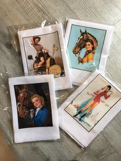 Hey all you Cowgirl Pinup fans. This is the perfect gift for Christmas.  Horse pinup girl dish towels.  Vintage equestrian beauties..see them on thehorseandhare.com