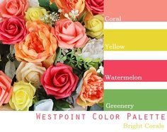 June Wedding Colors, Yellow Wedding Colors, Bright Color Wedding, Summer Wedding Themes, Coral Wedding Themes, Wedding Ideas, Coral Colour Palette, Spring Color Palette, Wedding Color Combinations