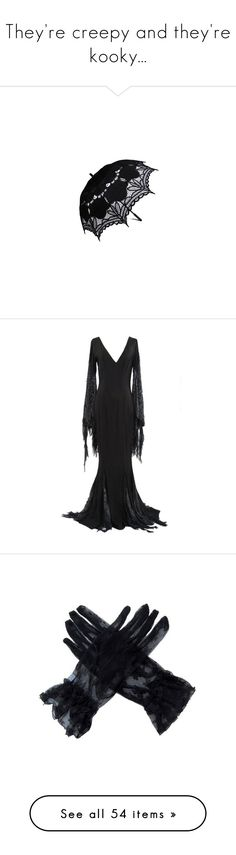 """They're creepy and they're kooky..."" by gruesomemind ❤ liked on Polyvore featuring accessories, umbrellas, parasol, black, other, lace umbrella, dresses, gowns, long dresses and costume"