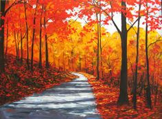 Autumn Country Road Abstract Huge Contemporary by pattyabaker, $1200.00