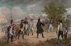 Desembarco en Fréjus, el 17 de vendimiario del año VIII (9 de octubre de 1799) Ilustración a colores según una litografía de Grenier.