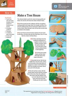 Make a recycled tree house out of cardboard. Love the paper towel tube slide! For peg dolls. Cardboard Tree, Cardboard Crafts, Paper Crafts, Cardboard Boxes, Cardboard Fireplace, Cardboard Playhouse, Cardboard Furniture, Diy Paper, Projects For Kids