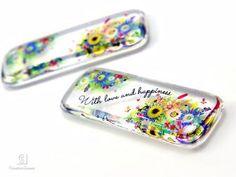 レジンアクセサリー「Creative Scenes」   癒しの花柄レジンレクタングルタイプ