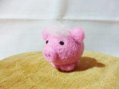 Needle Felted Pig - miniature baby pig figure - 100% merino wool