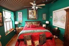 Green bedroom walls.