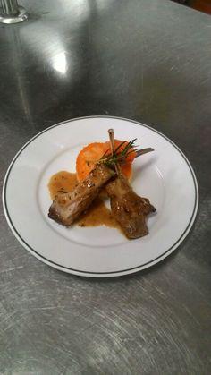 Lamb rack with mash potatoes and carrots