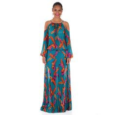 Pleated Feather Print Maxi
