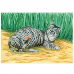 acrylic painting, cat art, A grey striped Cat And A Butterfly , by #JingfenHwu, tabby