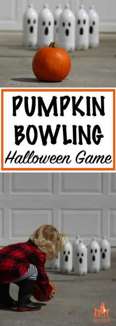 This fun DIY pumpkin bowling game is perfect for . - This fun DIY pumpkin bowling game is perfect for . Halloween Tags, Diy Halloween Party Games, Halloween Party Kinder, Halloween Party Themes, Kids Party Games, Halloween Birthday, Halloween Pumpkins, Birthday Games, Halloween Juegos