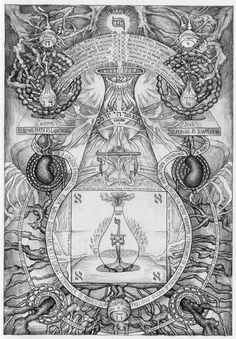 Blood of Space: Alchemical Drawings by David Chaim Smith. Inchoate maps of the un-mappable places of Original Creation involving mad dances through words and sacred geometries, biomorphic and astral thought forms, incantations and exhortations.