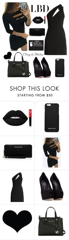 """Black night outfit"" by sophie01234 ❤ liked on Polyvore featuring Lime Crime, MICHAEL Michael Kors, Yves Saint Laurent, Giuseppe Zanotti, Brika and Chanel"