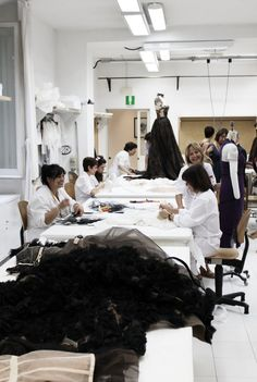 Haute Couture in the Making - fashion atelier; fashion design behind the scenes - the creation of a couture dress // Valentino