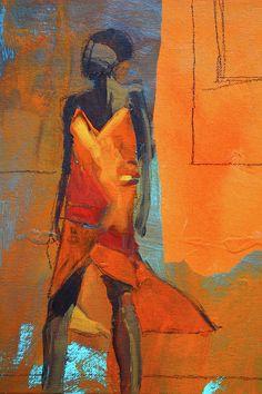 Lady In Orange Painting by Nancy Merkle