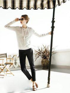 pearl necklace + light grey sweater + black slim crop + camel shoes