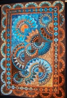 necktie quilts | Beautiful tapestry / quilt in turquoises and browns | Necktie quilts