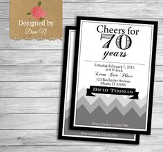 New to DesignedbyDaniN on Etsy: adult birthday invitation 70 years birthday 70th 80th 60th any age party invite black and grey elegant modern party (15.00 USD)