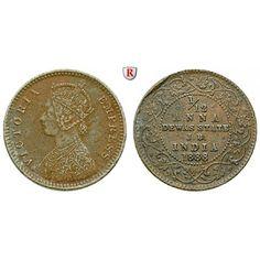 Indien, Dewas, Victoria, 1/12 Anna 1888, ss: Victoria 1837-1901. Kupfer-1/12 Anna 1888. KM 1; sehr schön, Stempfelfehler auf Rs.… #coins