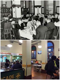 Central Station refreshment hall/dining room City of Sydney Archives, Curt Flood. By Curt Flood) Central Station, Historical Images, Wwii, Spotlight, New Zealand, Trains, Sydney, Past, Dining Room