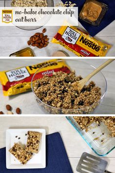 Avoid warming up the oven with these No-Bake Chocolate Chip Oat Bars. The Nestle Toll House mini chocolate chips, roasted almonds, sweet honey, along with creamy peanut butter make these no-bake bars an easy summer snack that you won't be able to resist! Healthy Desserts, Delicious Desserts, Yummy Food, Snack Recipes, Dessert Recipes, Cooking Recipes, Breakfast Recipes, Toll House, Oat Bars