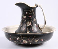 Victorian pitcher and bowl set, aesthetic enameled floral and twig decorations.