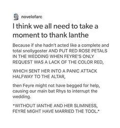 I hate her but this post is right about it, if it wasn't because of her Feyre would be with that tool and Rhys would always be for her the villain- A court of mist and fury by Sarah J mass