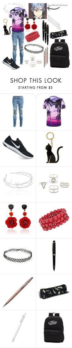 """Ocean Eyes (Casual Wear #1)"" by thehipsternerd ❤ liked on Polyvore featuring AMIRI, NIKE, Thom Browne, Linni Lavrova, Charlotte Russe, Bahina, Ross-Simons, Forever 21, Mont Blanc and Pentel"