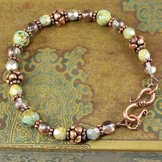 African Turquoise Czech Glass Antiqued Copper by SolanaKaiDesigns
