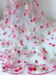 Dresses - Gorgeous Lace Embroidered Floral Fabric Soft Tulle Lace Fabric for Dress Veil Apparel Fabrics Supply Tulle Fabric, Tulle Lace, Floral Fabric, Pink Tulle, Diy Kleidung, Embroidery Suits, Pearl Embroidery, Embroidery Motifs, Kurti Designs Party Wear