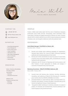 Social Media Manager Resumes Modern Resume Template, Resume Template Free, Professional Resume Template, Marketing Resume, Social Media Marketing, Marketing Communications, Marketing Strategies, Basic Resume, Visual Resume